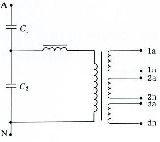 具有一个剩余电压绕组和两个二次绕组的单相互感器