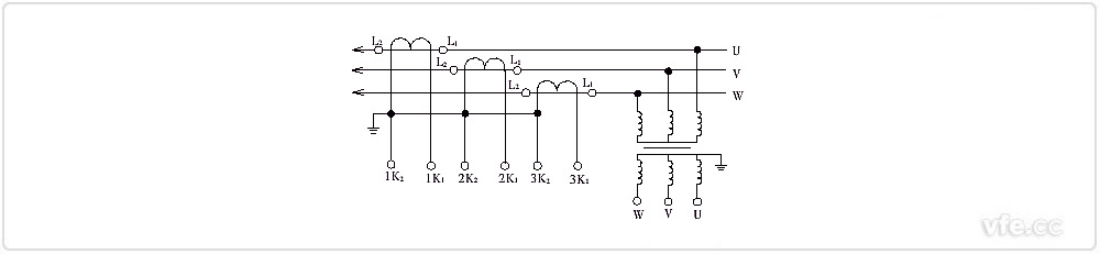 绕组可调电流互感器是一种一次绕组可调,二次多绕组的电流互感器。这种电流互感器的特点是变比量程多,而且可以任意变更,多应用于高压电流互感器。   绕组可调电流互感器的一次绕组分为两段,分别穿过互感器的铁芯,二次绕组分为两个带抽头的、不同准确度等级的独立绕组。一次绕组与装置在互感器外侧的连接片连接,通过变更连接片的位置,使一次绕组形成串联或并联接线(如下图所示一次串联、并联结构原理示意图),因此通过改变一次绕组的匝数,可以获得不同的变比。带抽头的二次绕组本身分为两个(或多个)不同变比和不同准确度等级的绕组