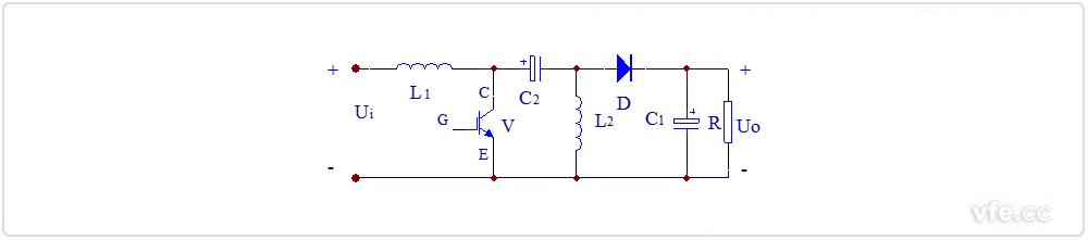 图2:升压斩波电路(Boost Chopper)原理图及波形图   如上图2:升压斩波电路原理图及波形图所示,电路也使用一个全控型器件V。由图2中V的栅极电压波形UGE可知,当V处于通态时,电源Ui向电感L1充电,充电电流基本恒定为I1,同时电容C1上的电压向负载供电,因C1值很大,基本保持输出电压UO为恒值。设V处于通态的时间为ton,此阶段电感L1上积蓄的能量为Ui*I1*ton。当V处于断态时Ui和L1共同向电容C1充电,并向负载提供能量。设V处于断态的时间为toff,则在此期间电感L1释放的能量