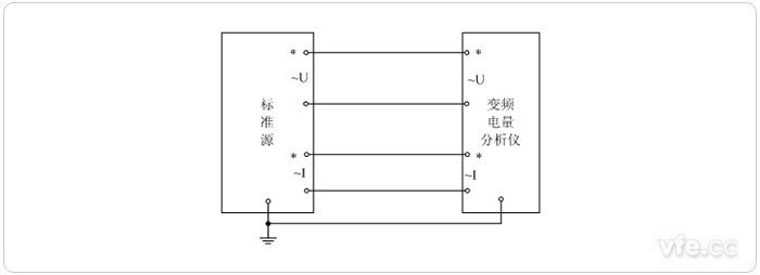 变频电量分析仪功率校准标准源法单相校准接线与图